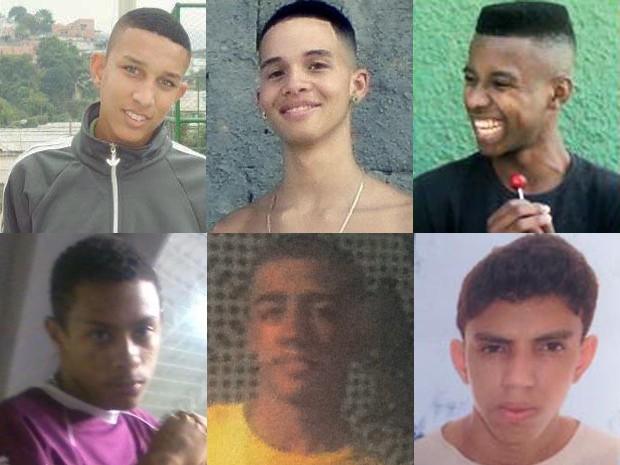 Da esquerda para a direita, a partir de cima, os jovens mortos na chacina: Patrick, Christian e Glauber; Josias, Douglas e Victor (Foto: Reprodução)