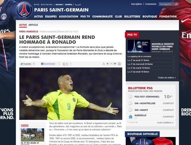 Reprodução site PSG homenagem a Ronaldo (Foto: Reprodução / Site Oficial do PSG)
