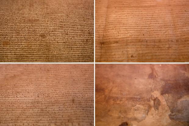 Montagem mostra a Salisbury Magna Carta, a Lincoln Magna Carta, a Canterbury Magna Carta e a London Magna Carta, reunidas pela British Library, em Londres (Foto: Reuters/Stefan Wermuth)