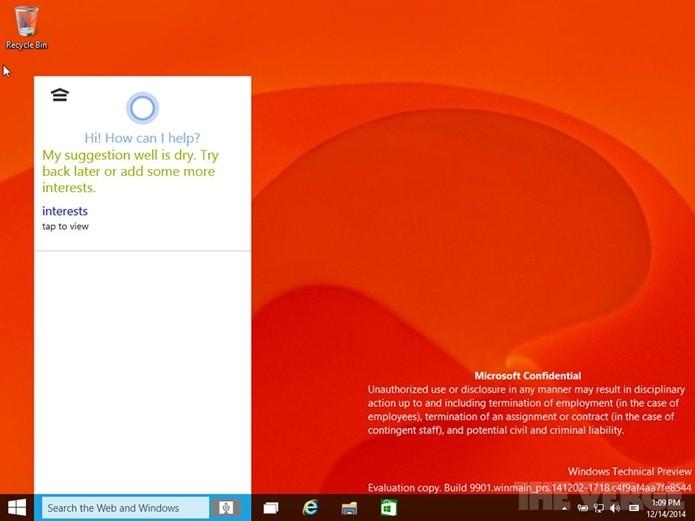 Windows 10 terá assitente pessoal Cortana no topo da interface de pesquisas (Foto: Reprodução/The Verge)