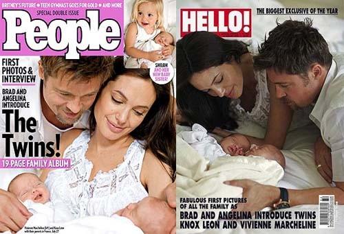 Angelina Jolie e Brad Pitt com os gêmeos Knox Leon e Vivienne Marcheline Jolie-Pitt nas capas das revistas People e Hello! (Foto: Reprodução)