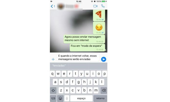 Usuários do iPhone podem enviar mensagens mesmo sem internet (Foto: Reprodução/Camila Peres)