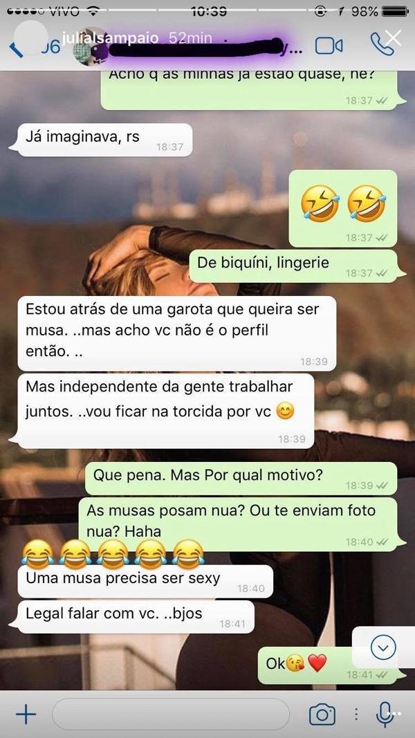 Conversa entre André Sanseverino e Júlia Samapaio (Foto: Reprodução / Instagram)
