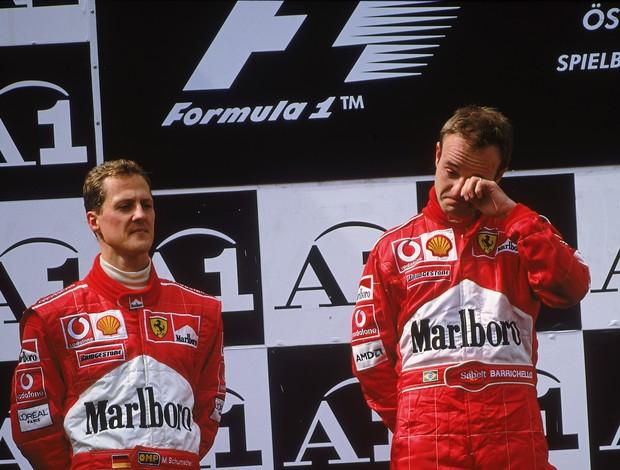 Michael Schumacher Rubens Barrichello pódio GP Áustria Fórmula 1 2002 (Foto: Agência Getty)