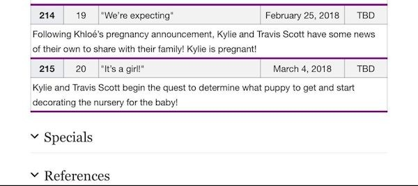 Uma foto do guia de episódios do reality das imrãs Kardashian-Jenner revelando o dia no qual será anunciada a gravidez de Kylie Jenner (Foto: Wikipedia)
