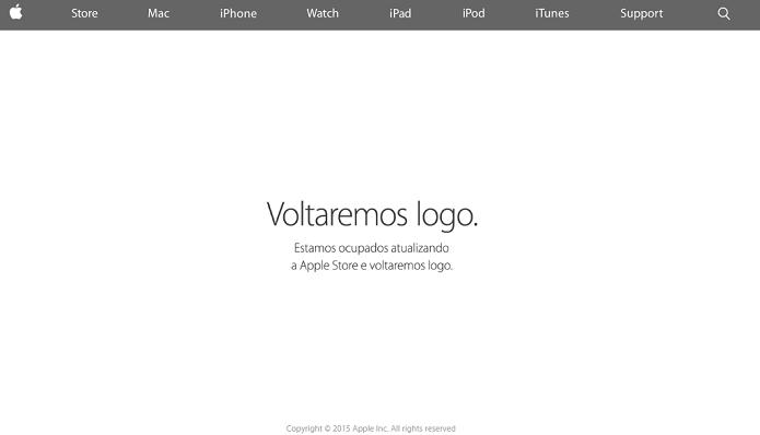 Loja da Apple está offline, em manutenção (Foto: Reprodução/Thiago Barros)