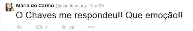 Maria do Carmo publicou a emoção de receber uma resposta de Bolaños (Foto: Reprodução/Twitter)