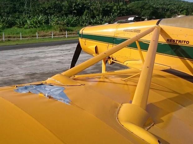 Aeronave que conseguiu pousar teve danos na asa e hélice (Foto: Corpo de Bombeiros/Divulgação)