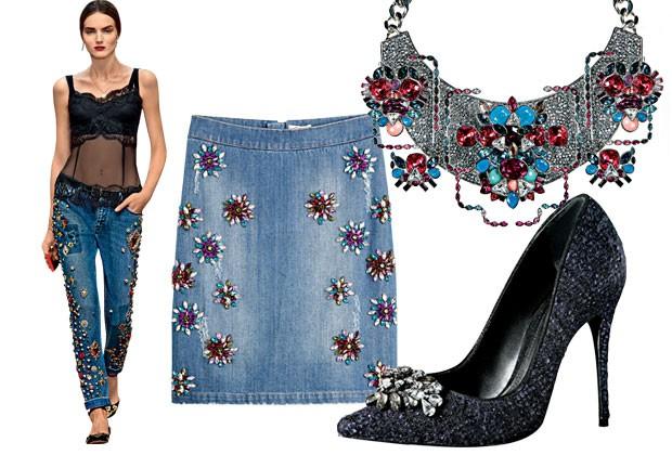 Para brilhar! Jeans com detalhes bordados deixam looks básicos superluxuosos