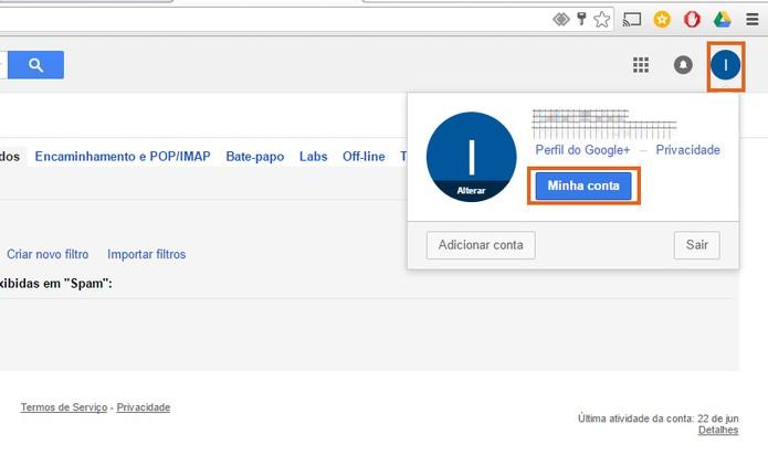 Acesse as configurações da sua conta Google pelo Gmail (Foto: Reprodução/Barbara Mannara)