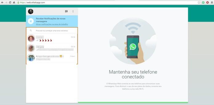 Acesse o WhatsApp pelo PC e confira a lista de mensagens no navegador (Foto: Reprodução/Barbara Mannara)