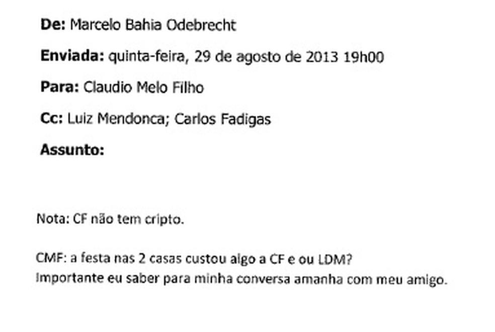 Trecho de e-mails trocados por executivos da Odebrecht no qual a palavra 'festa' é utilizada com referência para propina (Foto: Reprodução)