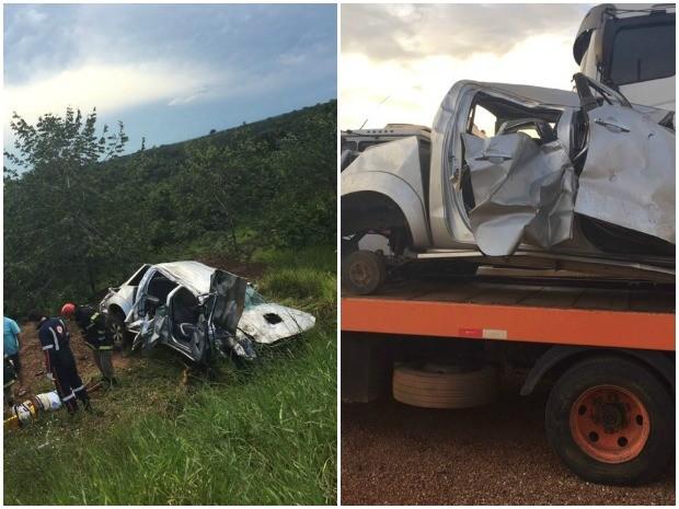 Na foto, local do acidente e como o veículo ficou após ter peças saqueadas (Foto: Arquivo da família)