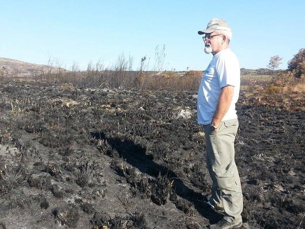 Analista ambiental avalia área queimada no Parque Nacional da Serra da Canastra (Foto: Anna Lúcia Silva/G1)