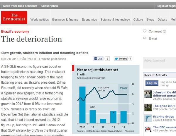 Revista Economist publica reportagem sobre deterioração econômica do Brasil. (Foto: Reprodução)