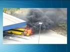 Ônibus que saiu de Natal pega fogo na rodoviária de Campina Grande