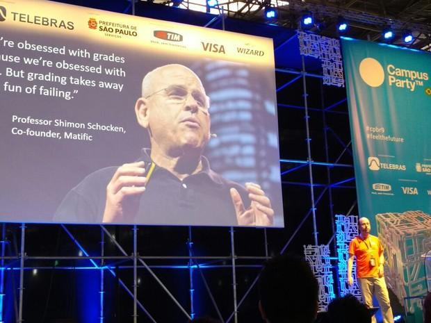 Guy Vardi, da startup Matific, falou sobre tecnologia e ensino na Campus Party (Foto: Bruno Araujo/G1)