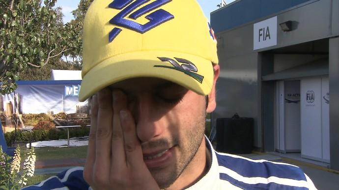 Felipe Nasr não contém as lágrimas após ótima estreia na Fórmula 1 (Foto: Luiz Demétrio Furkin / TV Globo)