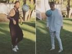 Neymar joga bola com Justin Bieber nos Estados Unidos