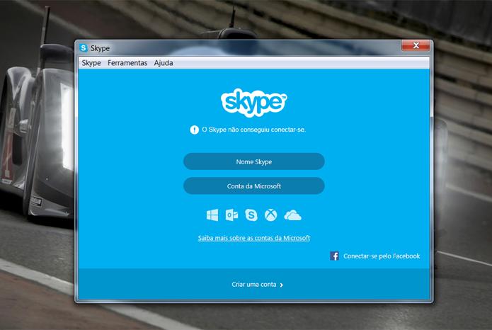 Quem tenta logar no Skype encontra muitas dificuldades em acessar o serviço (Foto: Reprodução/Filipe Garrett)