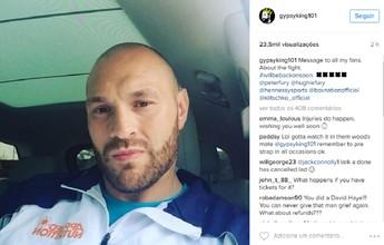 "Fury se lesiona e diz que luta contra Klitschko será adiada: ""Peço desculpa"""