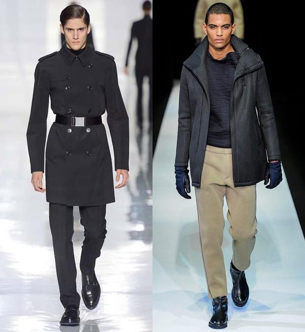 29ce44f9fdf04 Militarismo no longo sobretudo de abotoamento duplo Dior Homme e Esportivo  utilitário na mistura de moletom