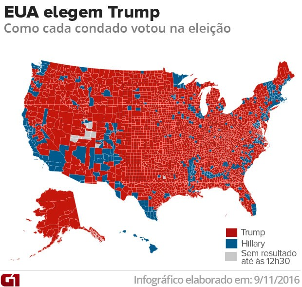 Veja como foi a votação em cada condado nos EUA em 2016 (Foto: Arte/G1)