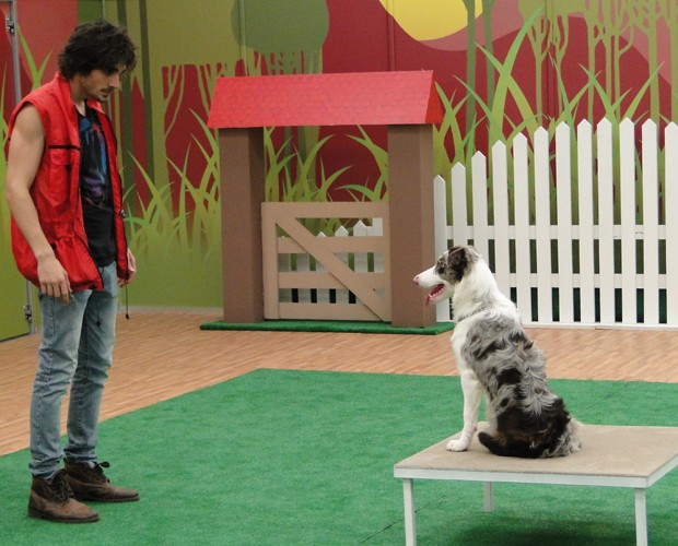 Fiuk concentrado no treinamento da Cachorrada VIP (Foto: Domingão do Faustão / TV Globo)