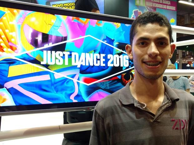 Kelvin Jaeder, campeão de 'Just Dance' na BGS 2015 (Foto: Bruno Araujo/G1)