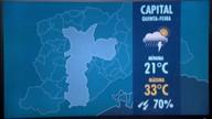 Confira a previsão do tempo para quinta-feira (23) em São Paulo