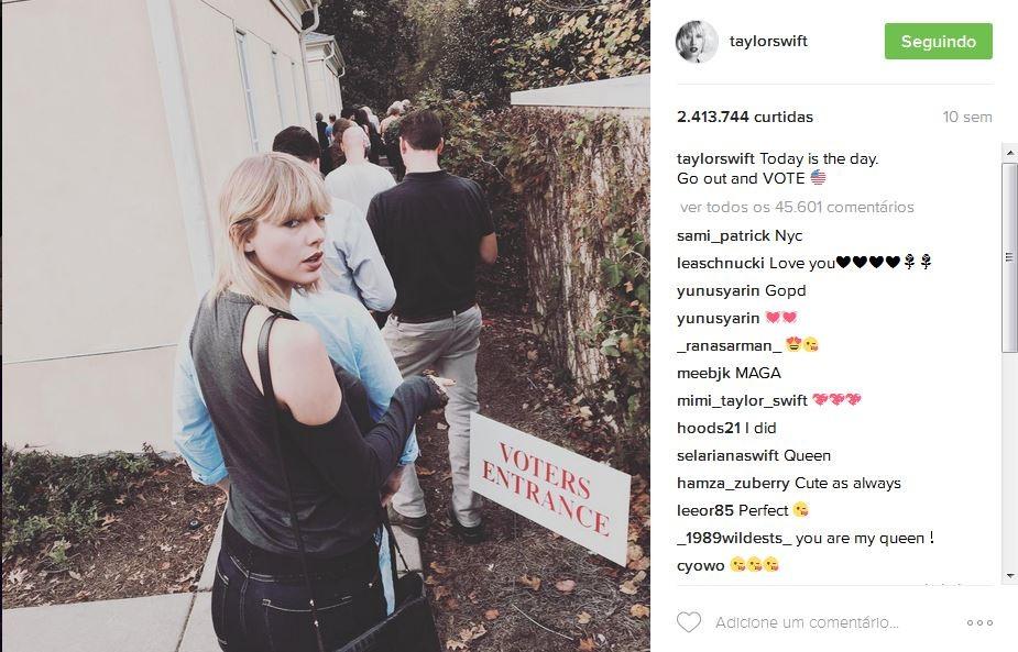 O único post relacionado a política feito por Taylor no ano passado foi no Instagram, quando ela encorajou seus fãs a votarem (Foto: Reprodução)
