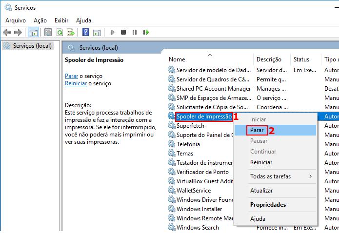 Parando o serviço de fila de impressão do Windows (Foto: Reprodução/Edivaldo Brito)