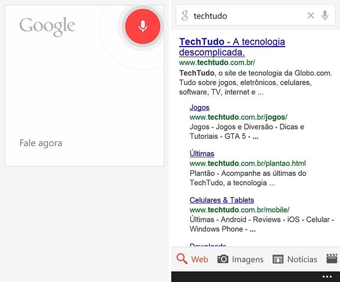 Windows Phone possui aplicativo oficial do Google (Foto: Reprodução/Elson de Souza)