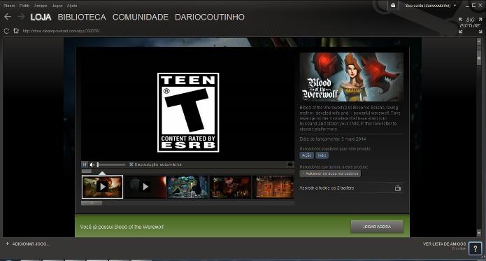 Concluída a compra, você irá retornar a página do jogo na Steam e poderá baixá-lo clicando no botão Jogar Agora (Foto: Reprodução / Dario Coutinho)