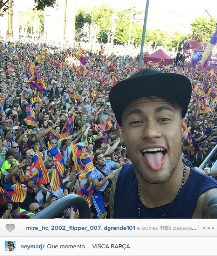 Neymar celebra título em Barcelona (Foto: Reprodução Instagram)