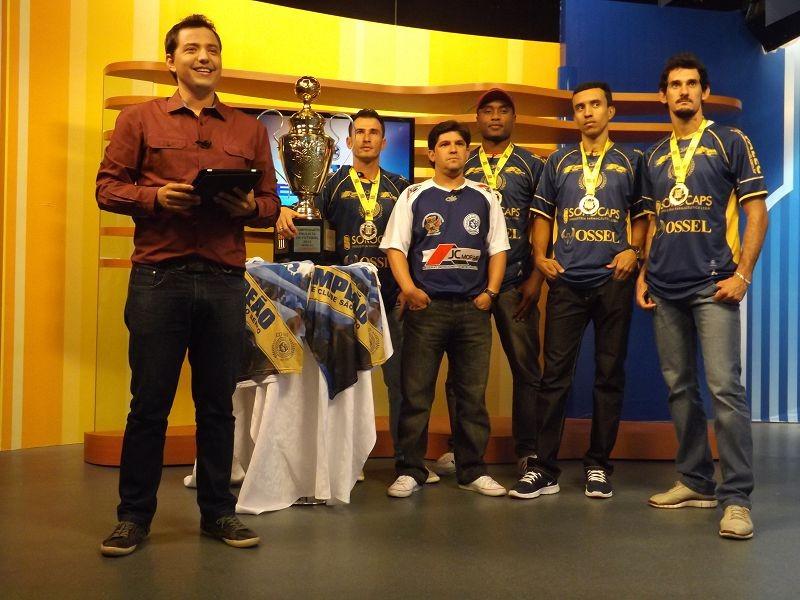 Jogadores do São Bento falam sobre a conquista do título pela Série A3 no Tem Esporte  (Foto: Rafaela Gonçalves / TV TEM)