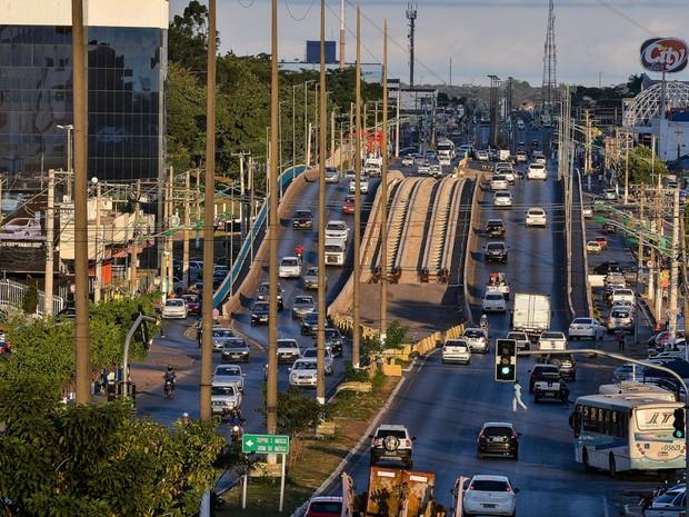 Região do viaduto da UFMT sofre com constantes alagamentos (Foto: Lucas Ninno/Gcom-MT)