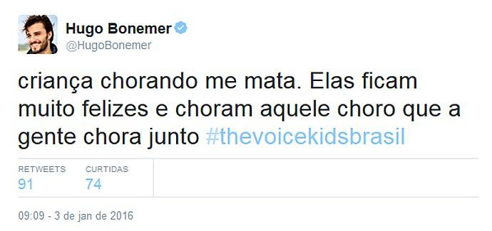 O ator Hugo Bonemer chorou com a criançada (Foto: Reprodução/Internet)