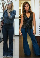 Carolina Dieckmann e Sabrina Sato apostam na calça jeans flare