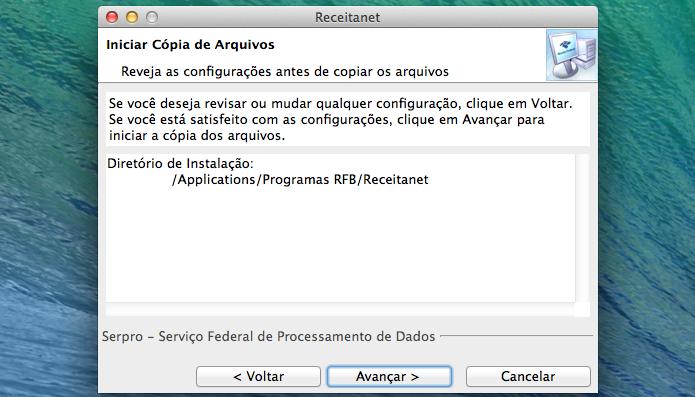 Confirmando os parâmetros de instalação do Receitanet (Foto: Reprodução/Edivaldo Brito)