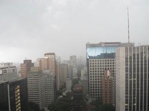 Chuva atinge região da Avenida Paulista na tarde deste domingo (Foto: Gustavo Petró/G1)