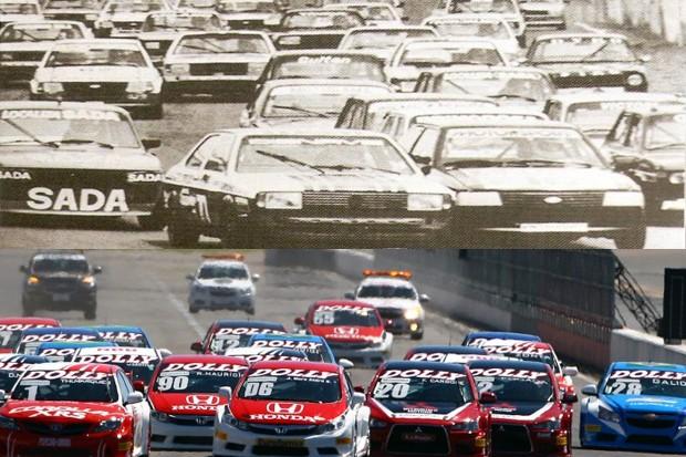 Largada em 1983 e em 2016. O grid era de mais de 50 carros! (Foto: Reprodução)