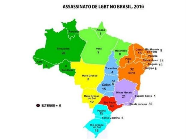 Segundo GGB, 343 LGBts fora assassinados no Brasil em 2016 (Foto: Reprodução/Relatório GGB)