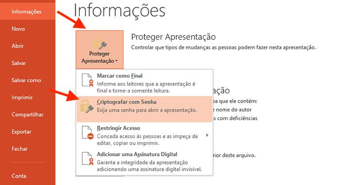 Iniciando a configuração para bloquear a apresentação do Powerpoint com senha (Foto: Reprodução/Marvin Costa)