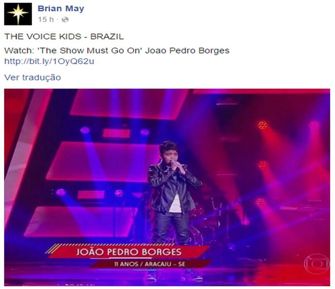 Guitarrista do Queen compartilha apresentação de João Pedro Borges em rede social (Foto: Reprodução)