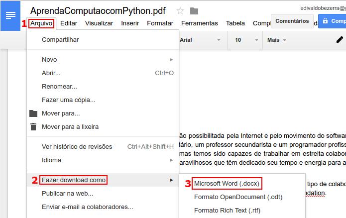 Salvando o PDF como um arquivo docx (Foto: Reprodução/Edivaldo Brito)