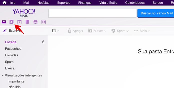 Acesse a sua conta do Yahoo e abra a agenda (Foto: Reprodução/Helito Bijora)