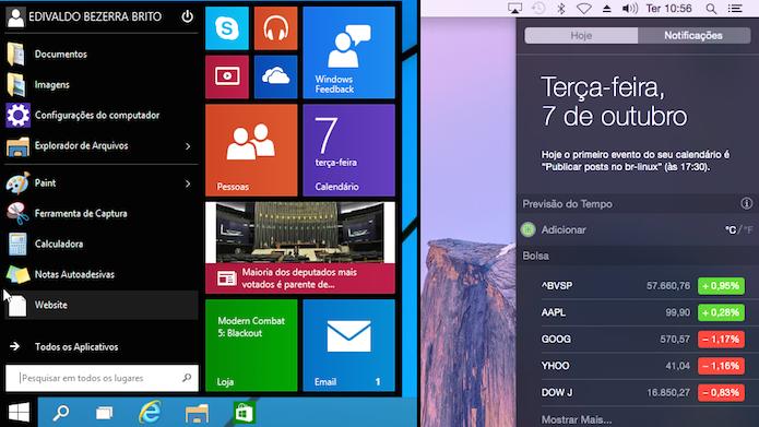 Novo menu Iniciar e Central de notificações: Widgets a parte (Foto: Reprodução/Edivaldo Brito)
