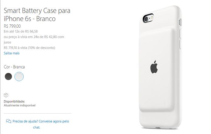 Smart Battery Case aparece na Apple Store brasileira (Foto: Felipe Alencar/TechTudo)