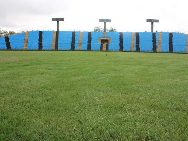 Prefeitura cuida do gramado do Ipatingão para revitalizar o estádio. (Foto: Wellis Debil / Prefeitura de Ipatinga)